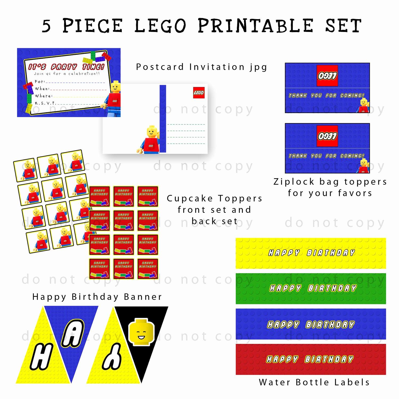 Lego Party Invitation Printable Luxury Lego Party Printable Set