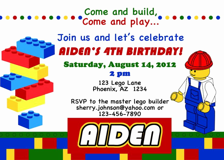 Lego Party Invitation Template Beautiful Free Printable Lego Invitations Birthday Ideas