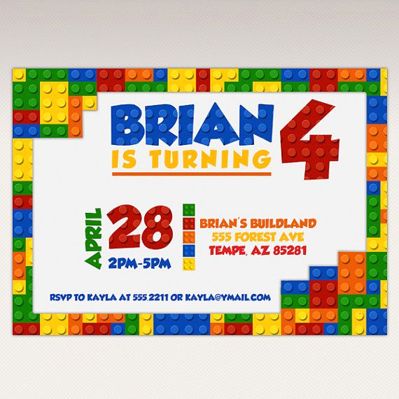 Lego Party Invitation Template Lovely 13 Best Building Brick Blocks Birthday Party Ideas Images