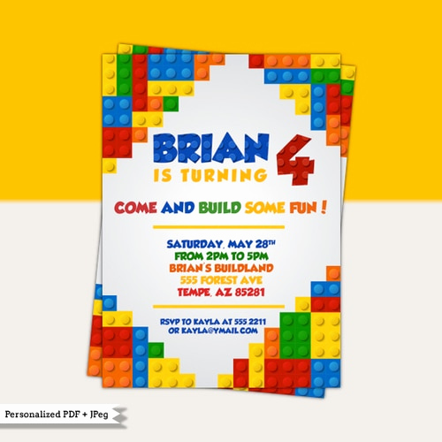 Lego Party Invitation Template Lovely Colorful Blocks Birthday Party Invitation Lego