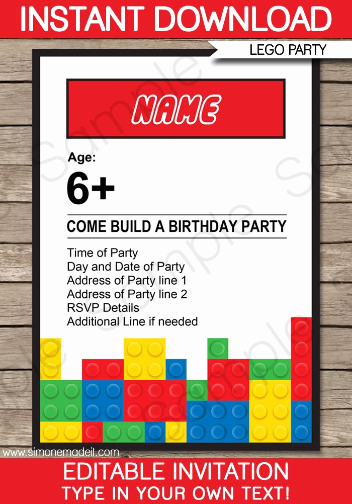 Lego Party Invitation Template Luxury Lego Party Invitations Template
