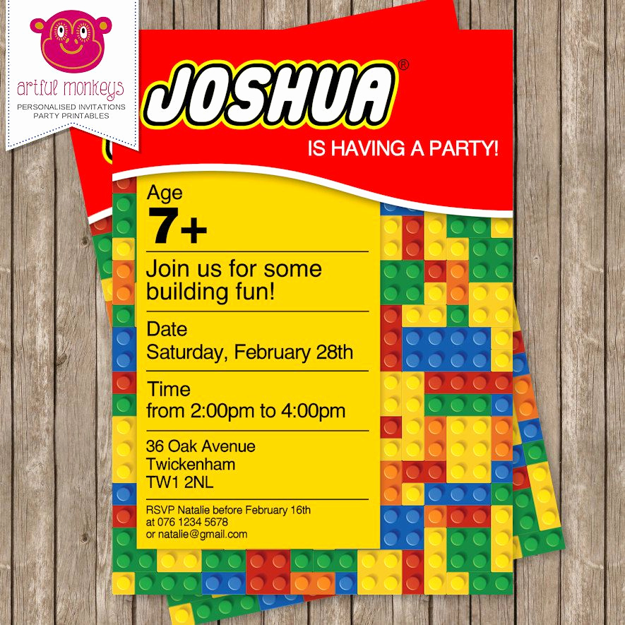 Lego Party Invitation Template Luxury Printable Building Blocks Party Invitation