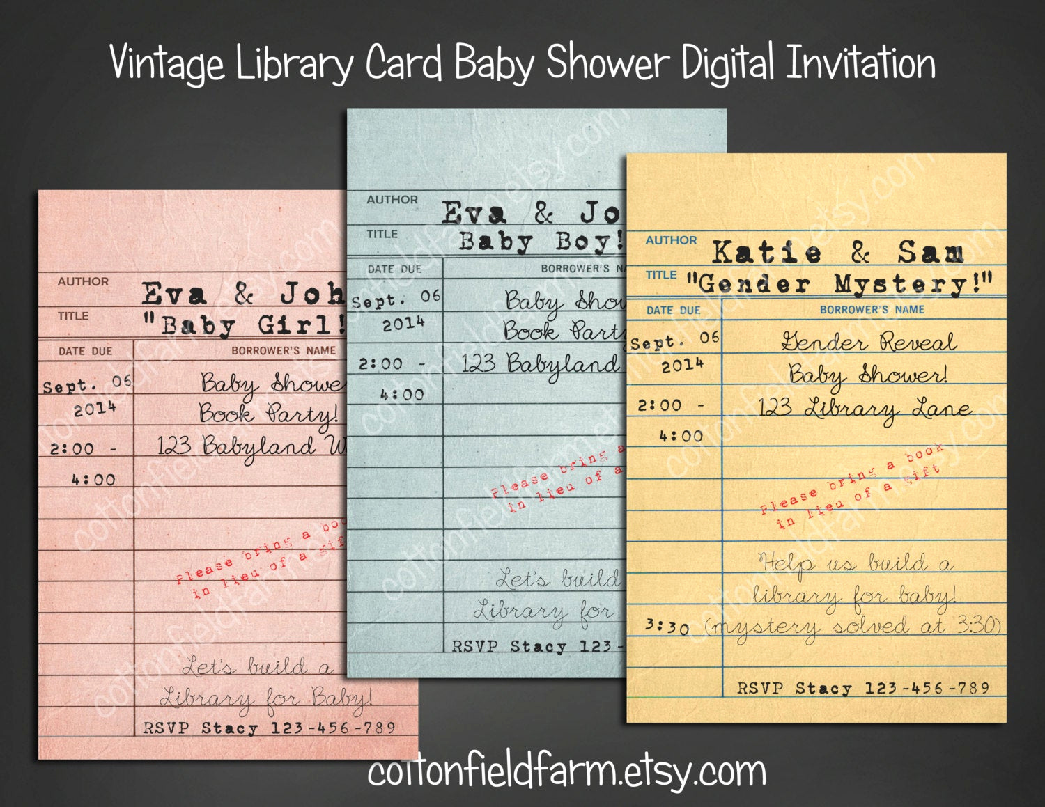 Library Card Baby Shower Invitation Fresh Vintage Library Card Baby Shower Invitation Personalized