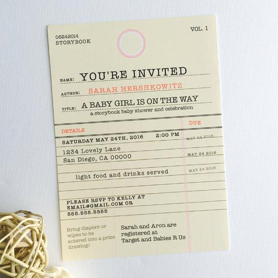 Library Card Baby Shower Invitation Lovely Story Book Baby Shower Invitation Old Library Card