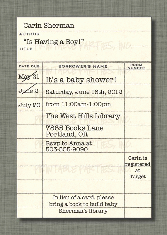 Library Card Invitation Template Beautiful Library Card Invite for Book themed Shower by