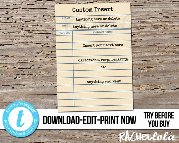 Library Card Invitation Template Best Of Editable Custom Invitation Insert Library Card Printable