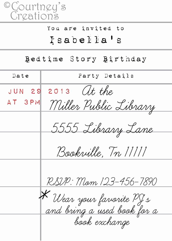 Library Card Invitation Template Fresh 5x7 Printable Library Card Style Book themed Birthday