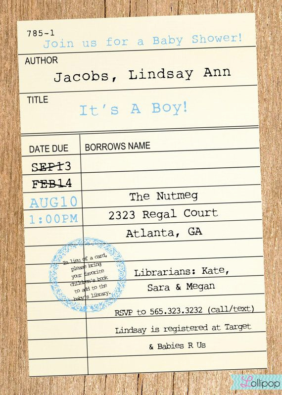 Library Card Invitation Template Fresh Printable Library Card Baby Shower Invitation these Would