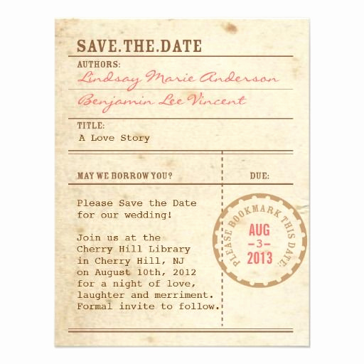 Library Card Invitation Template Fresh Vintage Library Card Save the Date Announcement by