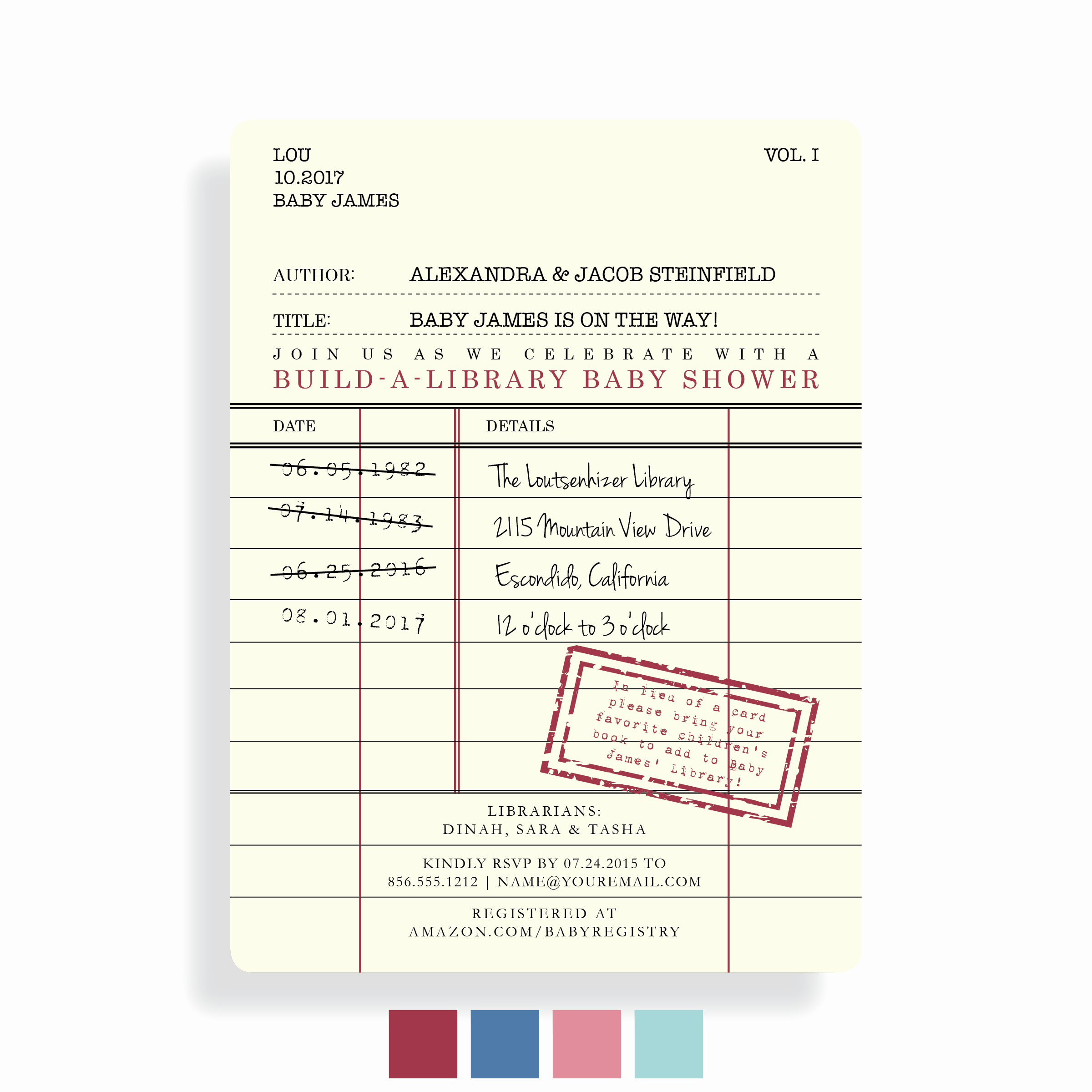 Library Card Invitation Template Luxury 001 Pia6 Preview Colors