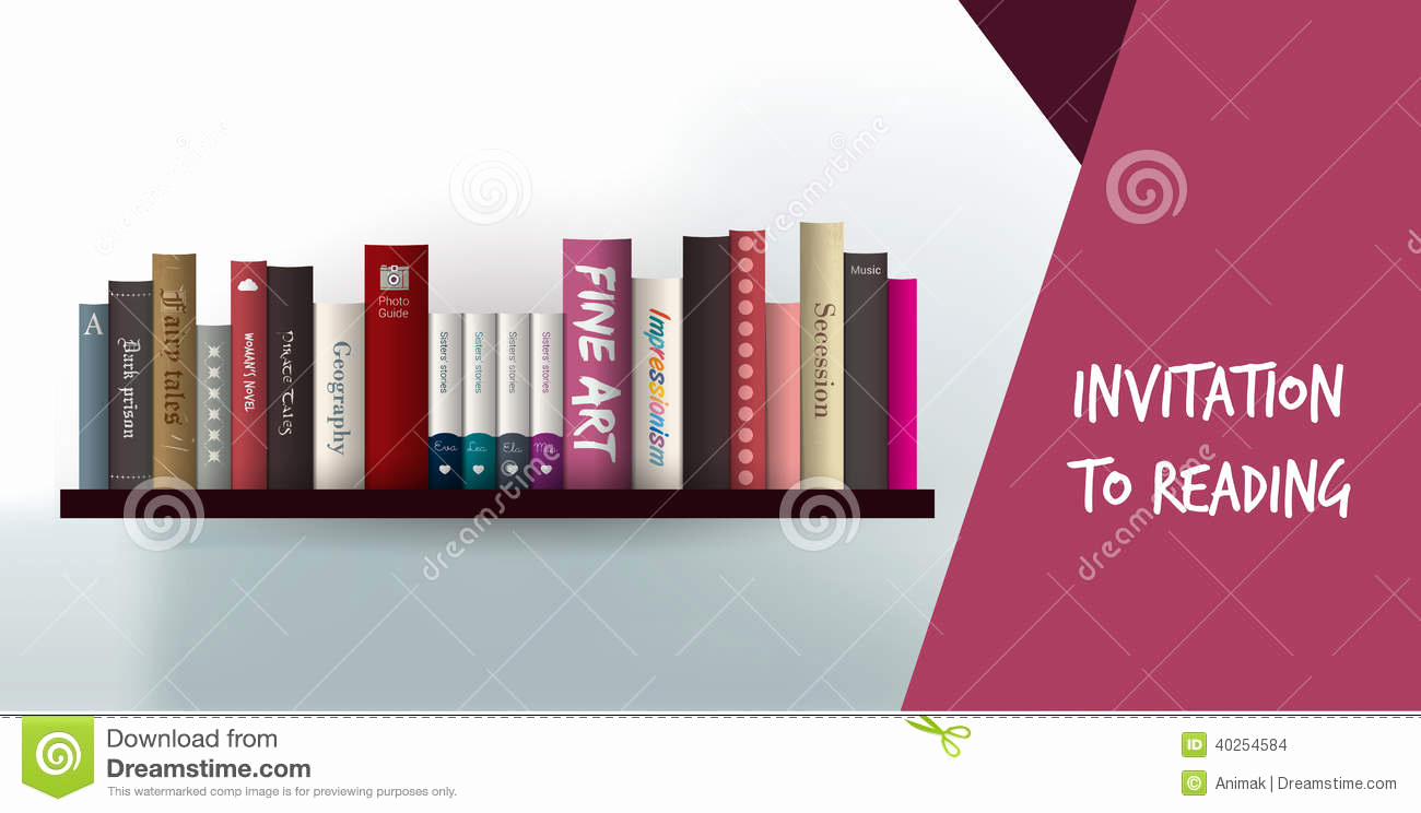 Library Card Invitation Template Luxury Invitation to Reading Card Library Design Templat Stock