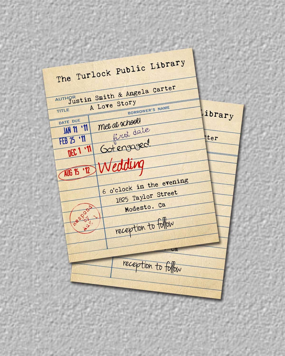 Library Card Wedding Invitation Awesome Library Card Invitation or Save the Date by
