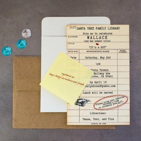 Library Card Wedding Invitation Elegant Library Card Baby Shower Invitations too Chic & Little