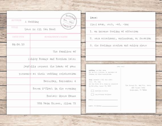 Library Card Wedding Invitation Fresh Items Similar to Modern Library Card Wedding Invitation