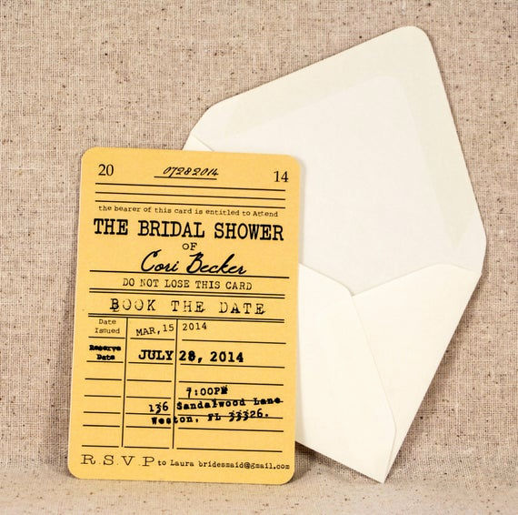 Library Card Wedding Invitation Fresh Library Card Bridal Shower Invitation Vintage Literary theme