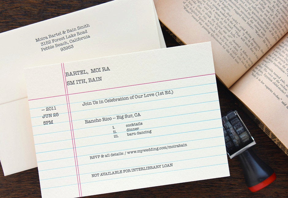 Library Card Wedding Invitation Inspirational Old School Library Catalog Card Index Card Retro Book
