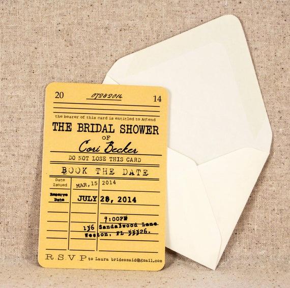 Library Card Wedding Invitation Lovely Library Card Bridal Shower Invitation Vintage Literary theme