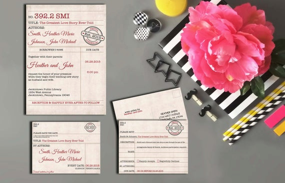 Library Card Wedding Invitation Luxury Library Card Catalog Vintage Wedding Collection Invitation