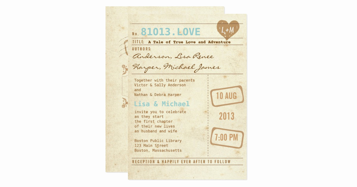 Library Card Wedding Invitation New Vintage Library Card Wedding Invitation