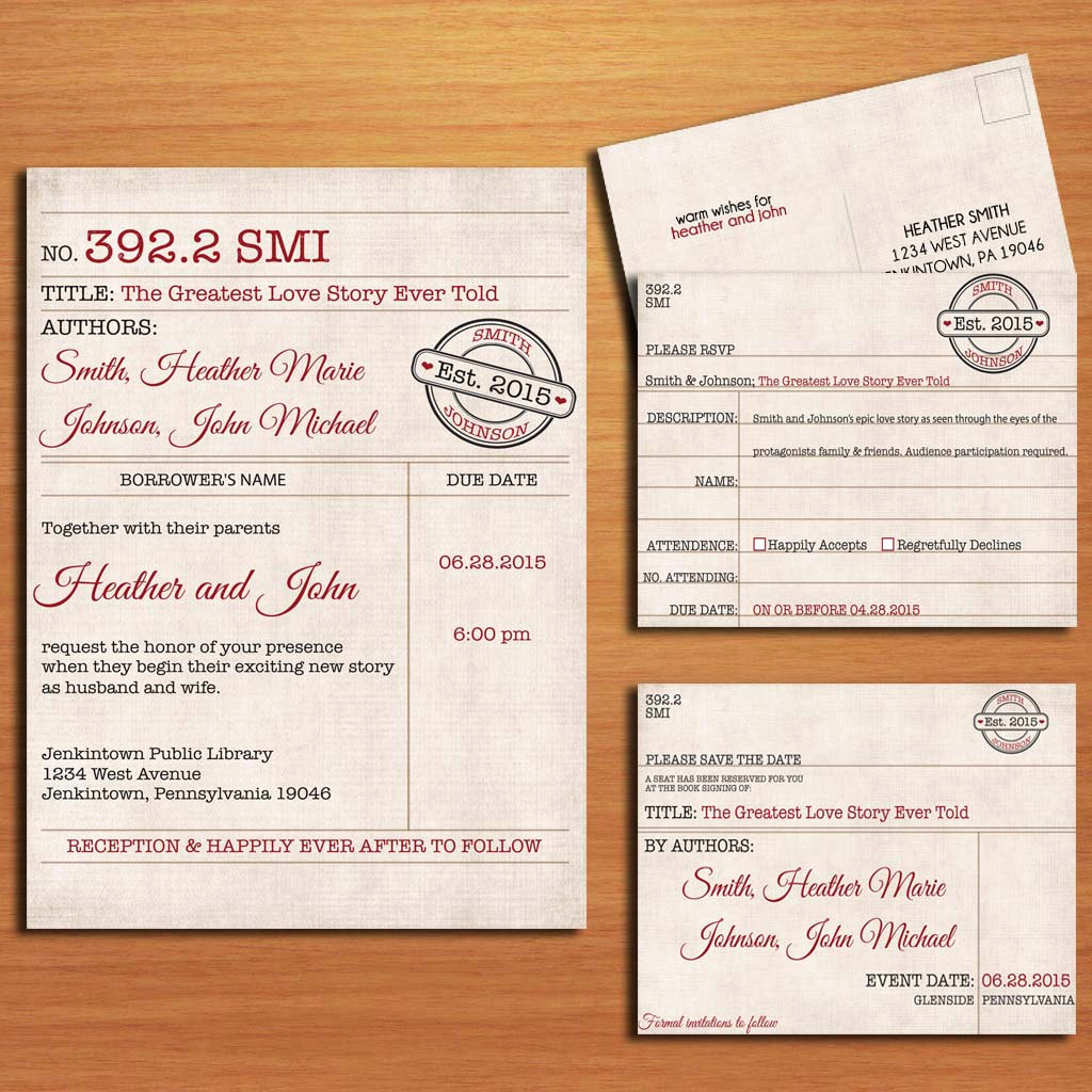 Library Card Wedding Invitation Unique Library Card Catalog Vintage Wedding Collection Invitation