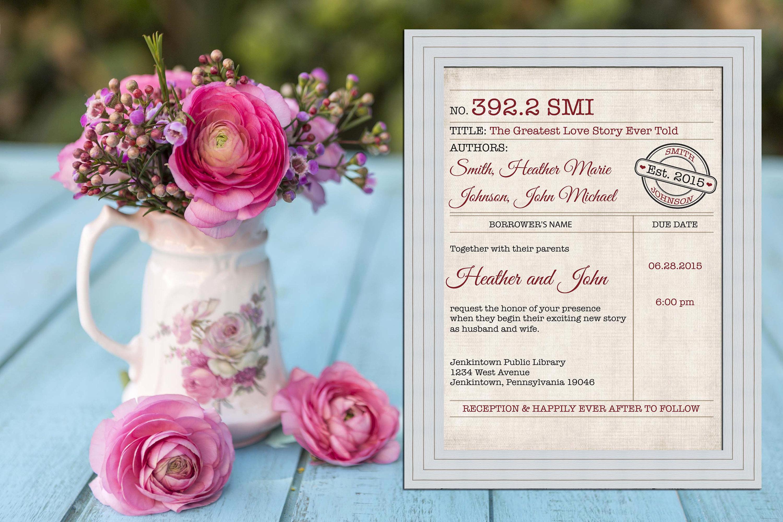 Library Card Wedding Invitation Unique Library Card Catalog Vintage Wedding Invitation Printable