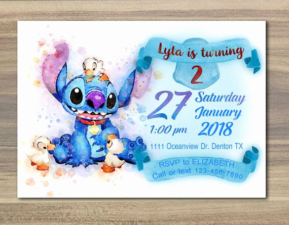 Lilo and Stitch Invitation Awesome Disney Stitch Invitation Watercolor Lilo and Stitch Party