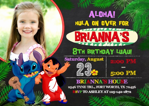 Lilo and Stitch Invitation Awesome Lilo and Stitch Invitation Lilo and Stitch Birthday Lilo and