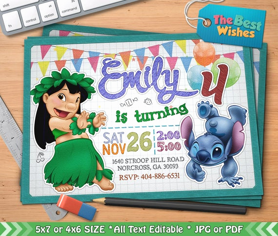 Lilo and Stitch Invitation Beautiful Lilo & Stitch Invitation Lilo and Stitch Birthday Party