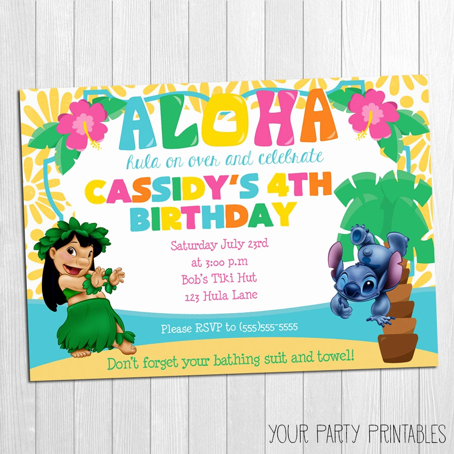 Lilo and Stitch Invitation Best Of Luau Invitation Lilo and Stitch Luau Invitation Lilo and