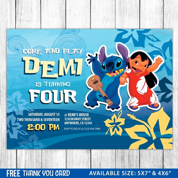 Lilo and Stitch Invitation Elegant Lilo and Stitch Invitation Lilo and Stitch Birthday Lilo and