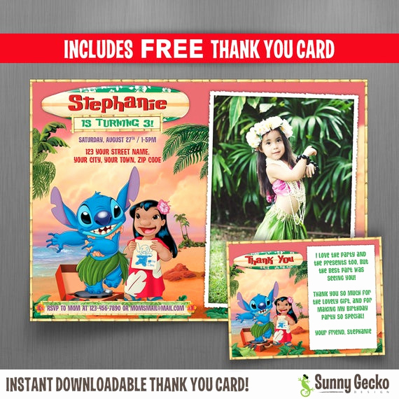 Lilo and Stitch Invitation Fresh Disney Lilo and Stitch 7x5 In Birthday Party Invitation with