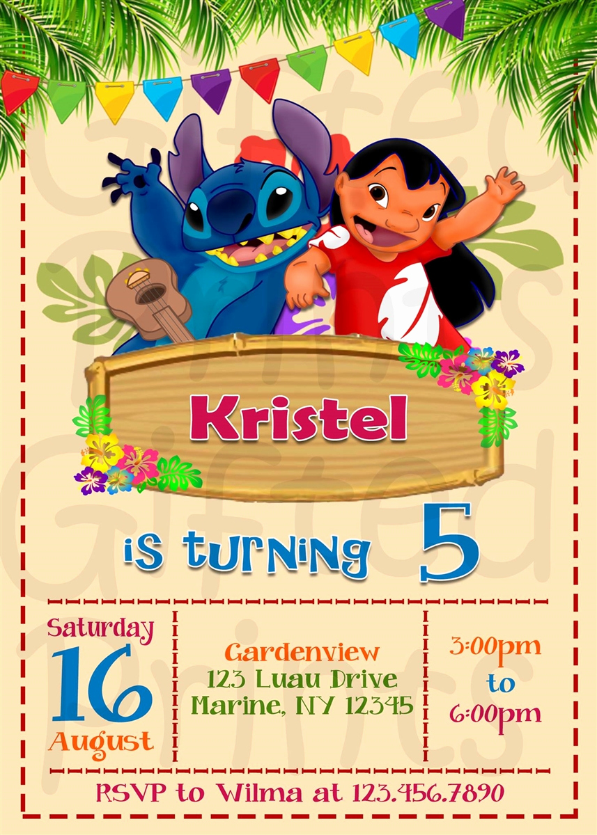 Lilo and Stitch Invitation Lovely Birthday Invitation Lilo and Stitch theme