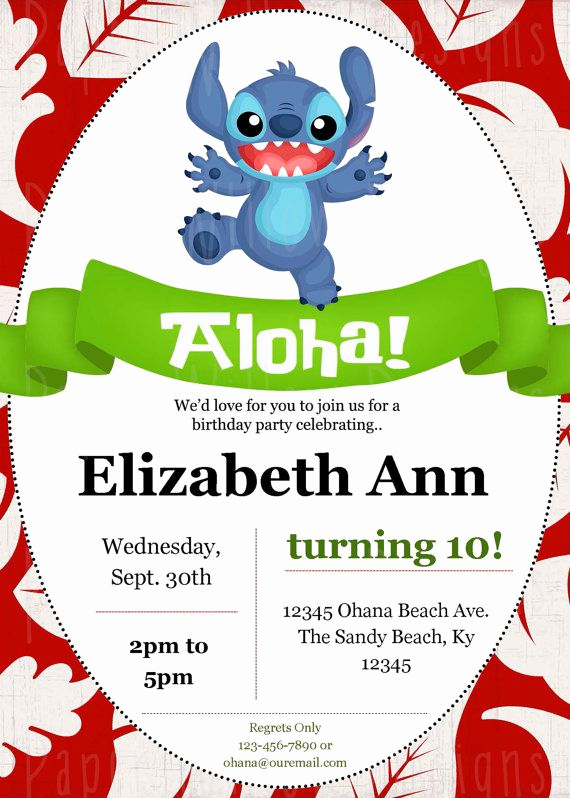 Lilo and Stitch Invitation Lovely Stitch Birthday Lilo and Stitch Editable Pdf Printable