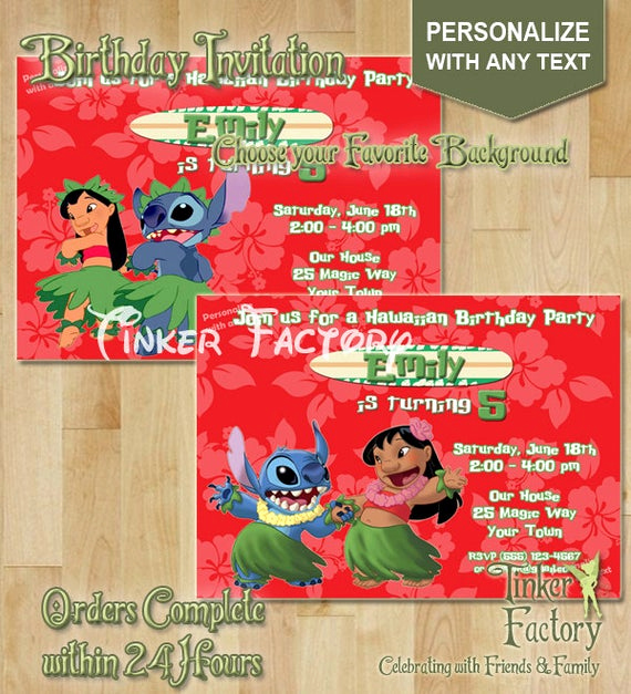 Lilo and Stitch Invitation Luxury Lilo and Stitch Birthday Party Invitation Choose by