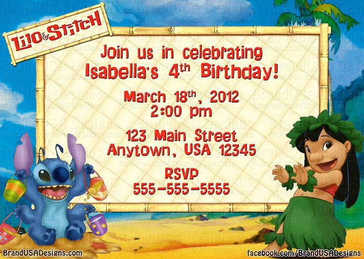 Lilo and Stitch Invitation New 17 Best Images About Lilo & Stitch Birthday On Pinterest