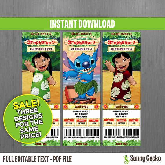 Lilo and Stitch Invitation New Disney Lilo & Stitch Birthday Ticket Invitations Sale