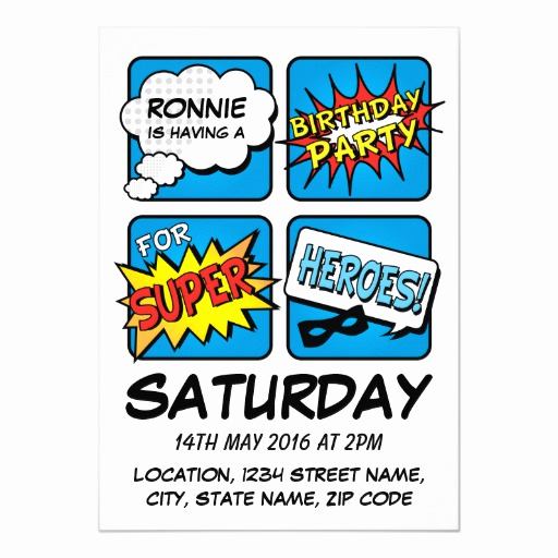 Line Play Invitation Code Elegant Super Hero Ic Strip Personalized Kids Birthday Card