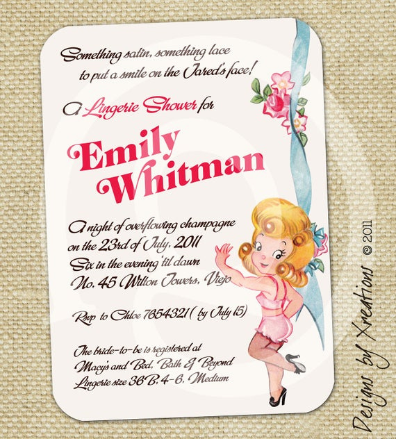 Lingerie Shower Invitation Wording Awesome Items Similar to Cute Lingerie Bridal Shower Invitation