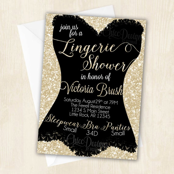 Lingerie Shower Invitation Wording Beautiful Lingerie Shower Invitation White Gold Champagne Color