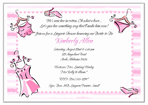 Lingerie Shower Invitation Wording Elegant Bridal Shower Lingerie Bachelorette Party Invitations