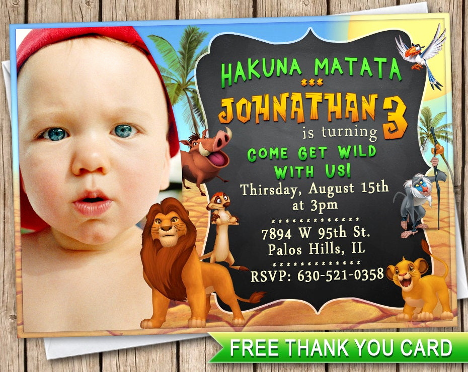 Lion King Invitation Template Best Of Lion King Birthday Invitation Card Thank You Card Lion