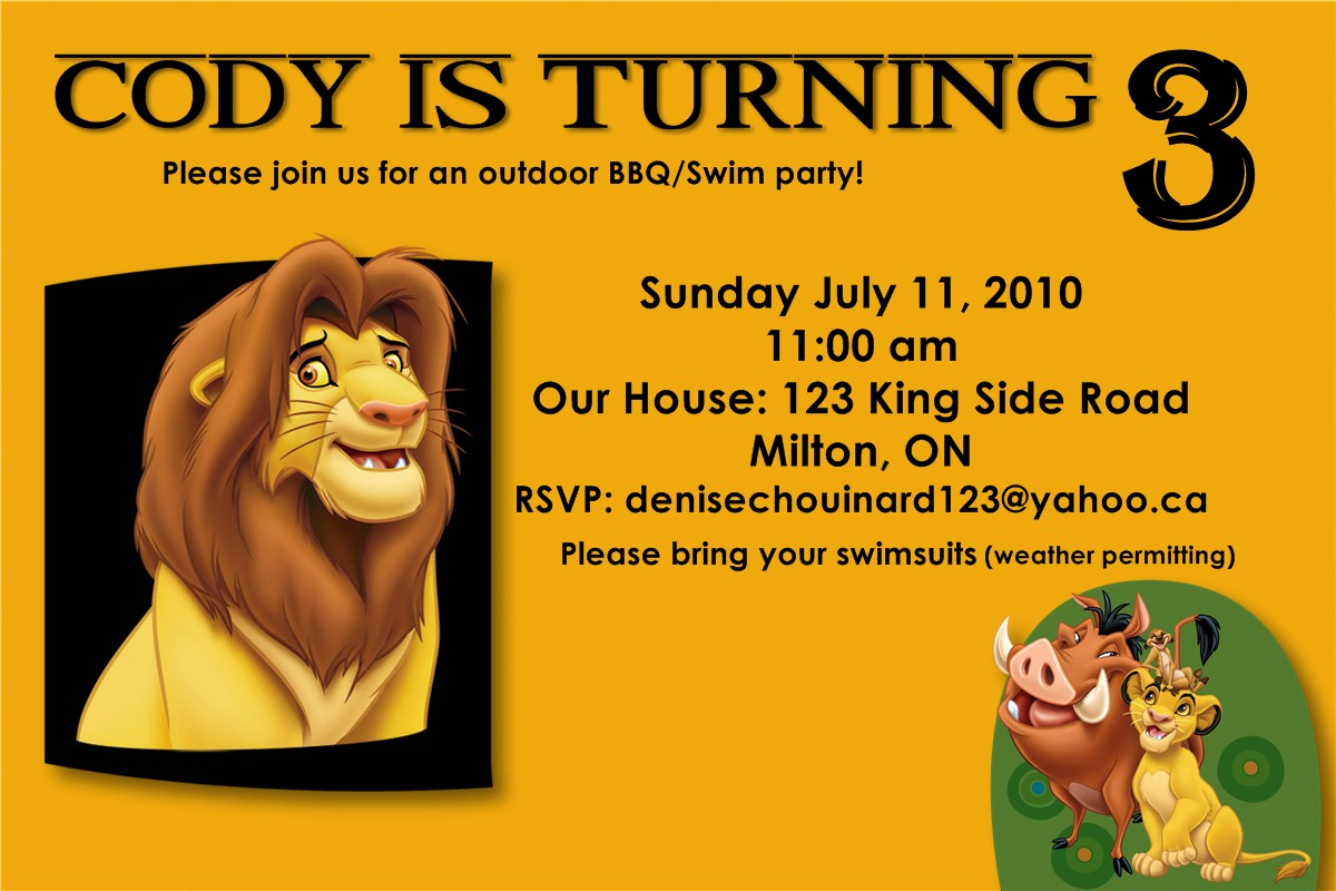 Lion King Invitation Template Best Of Personalized Party Invites for Boys Worldwide