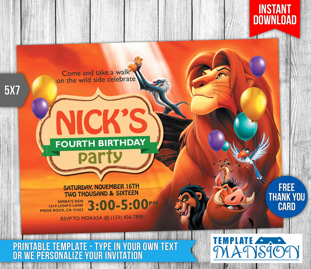 Lion King Invitation Template Elegant Lion King Birthday Invitation with Thank You Card by