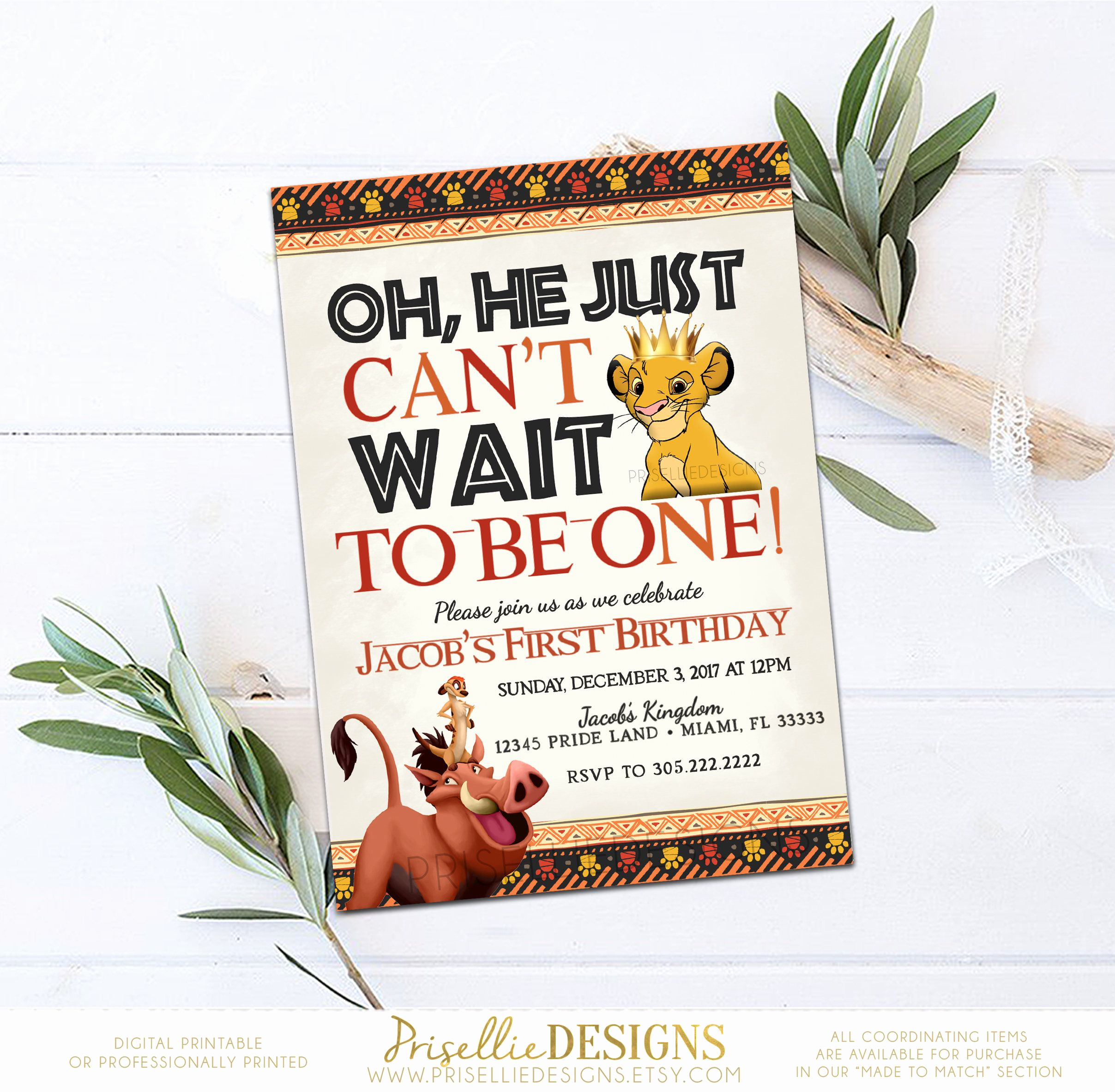 Lion King Invitation Template Inspirational Simba Birthday Invitation Lion King Birthday Invitation