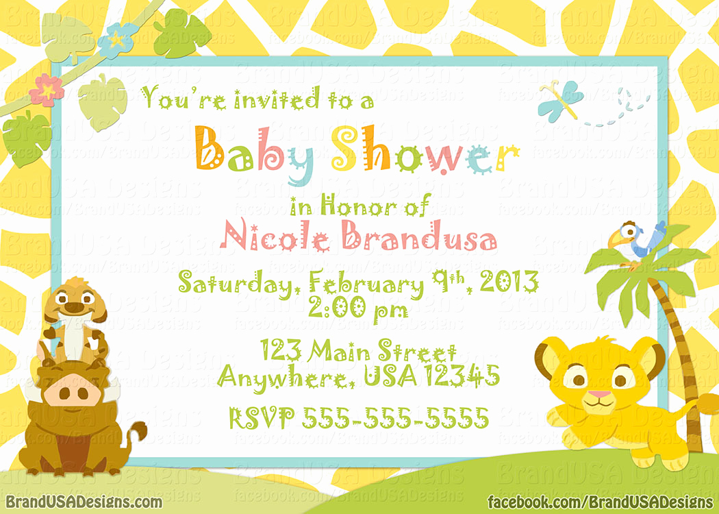Lion King Invitation Template Lovely Lion King Baby Shower Invitation Templates