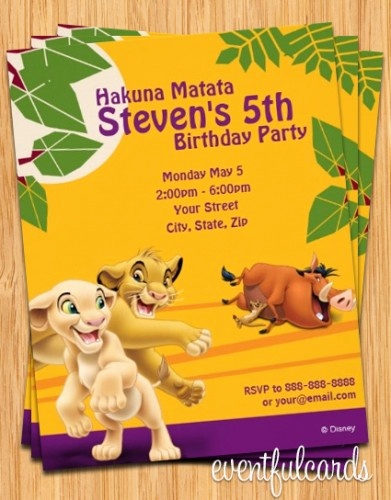Lion King Invitation Template Lovely Lion King Birthday Party Invitation