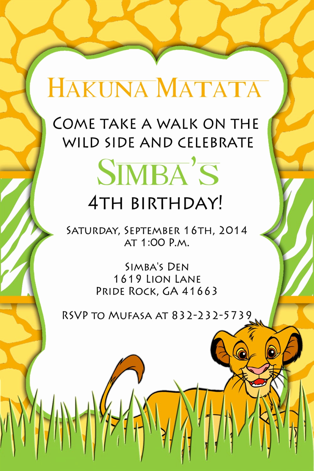 Lion King Invitation Template Luxury Print Your Own Lion King Birthday Invitation Simba by