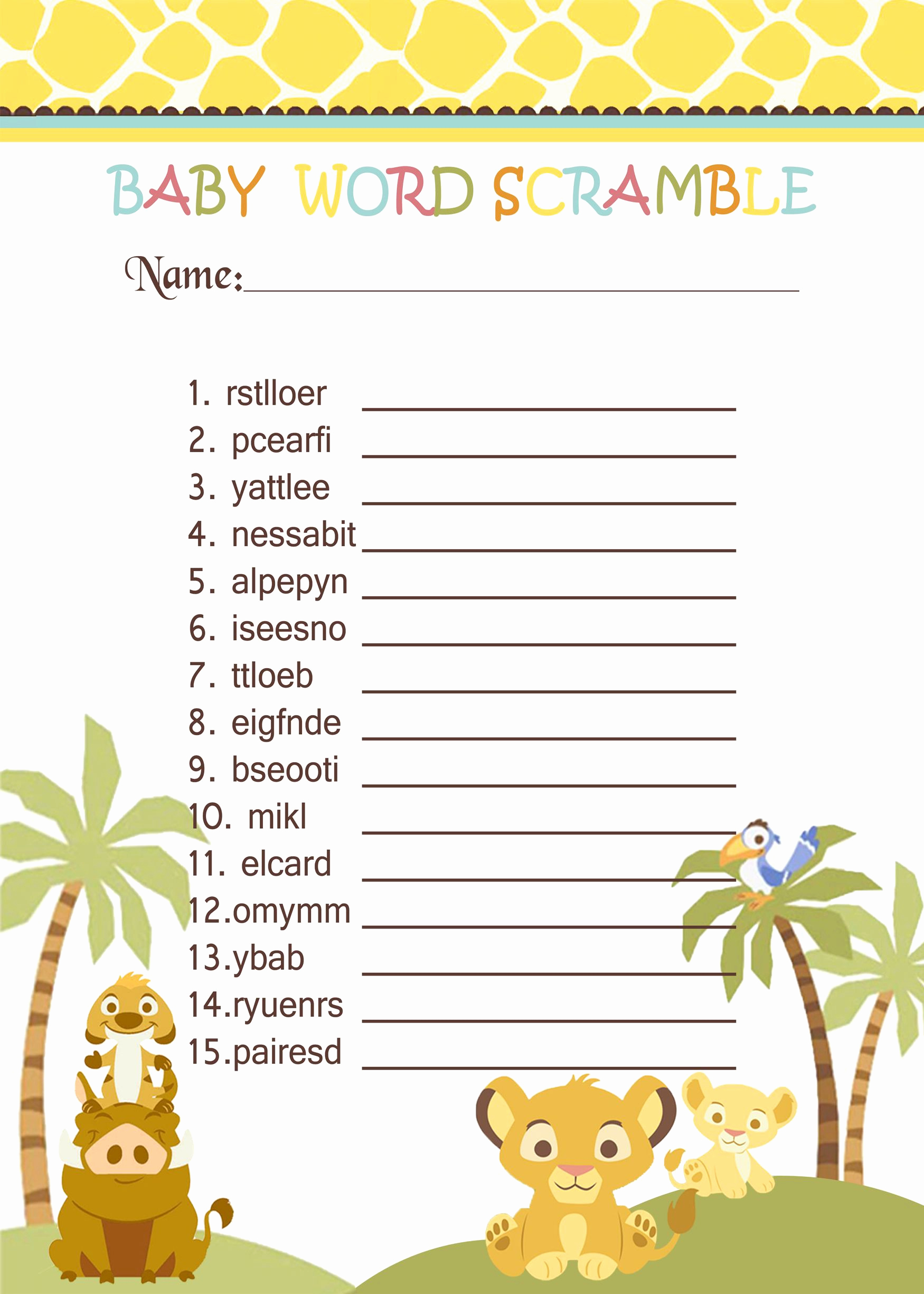 Lion King Invitation Template Unique Simba Lion King Baby Shower Games Word Scramble $3 99