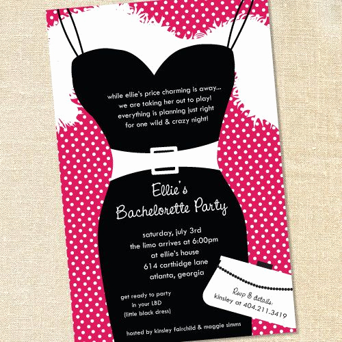 Little Black Dress Invitation Awesome Sweet Wishes Little Black Dress Bachelorette Party