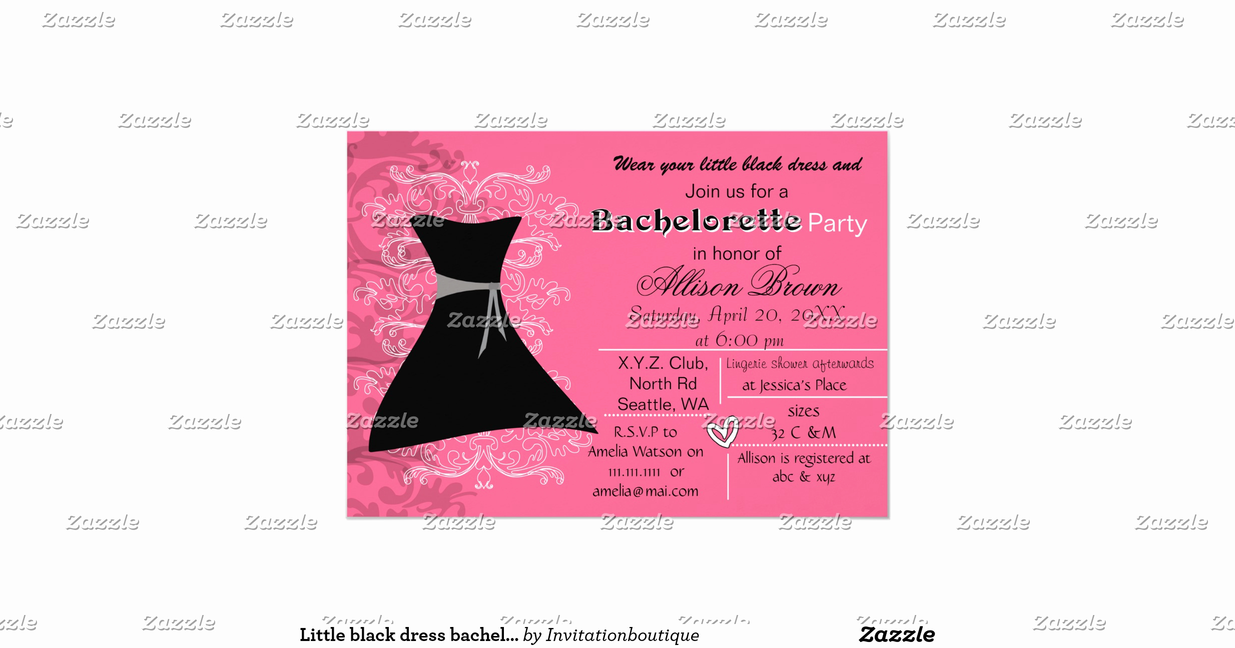 Little Black Dress Invitation Beautiful Little Black Dress Bachelorette Party Invite